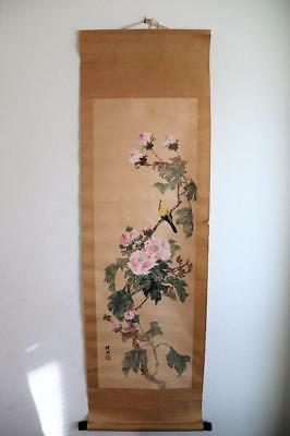 Very Fine and Old Chinese Floral and Bird Scroll Painting.