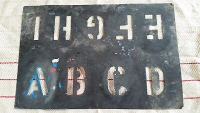 Vintage Metal Wool Bale Shearing Shed Stencil Letters A- I