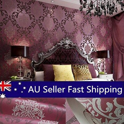 Purple Modern Luxury Non-woven Damask Textured Embossed Flocking Wallpaper Roll