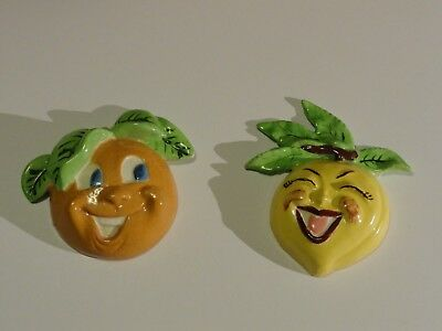 Lot of 2 Vintage Fruit Anthropomorphic Chalkware Wall Hangings Plaque Kitchen