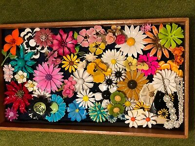 Large lot of Vintage 50's RETRO Enamel FLOWER Brooch Pin, Earrings, Necklace