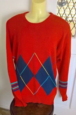 Vintage 80s 90s Smart Casual Preppy All Cotton Light Pullover Sweater Size L