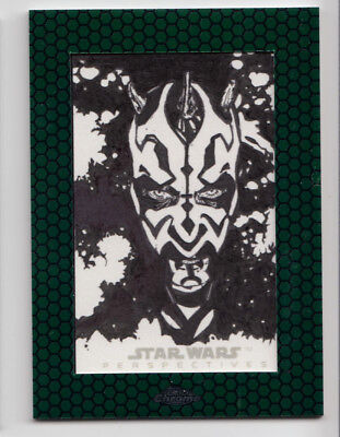 Star Wars Chrome Perspectives '15 Sketch Card Kevin Graham Darth Maul 1/1