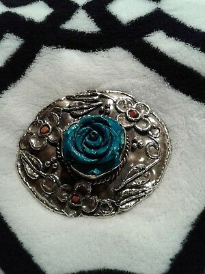 Paige Wallace Turquoise Rose Belt Buckle