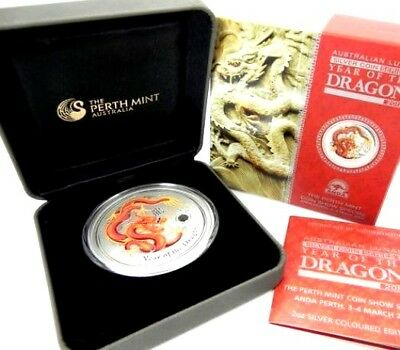 2012 Lunar Year of the Dragon 2oz Silver Proof Coloured Coin Perth ANDA Show