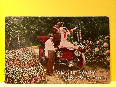 "1912 ANTIQUE ROMANCE Postcard     ""WE ARE HAVING A HIGH OLD TIME "" # 10"