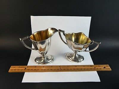 Vintage Neoclassic Style Sterling Silver Sugar and Creamer Saart Bros No Mono