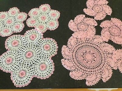 Vintage Pink/White Crocheted Doillies