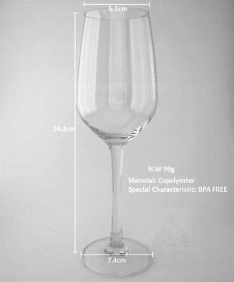4x New Unbreakable Plastic Wine Glasses 330ml High Quality Reusable BPA Free