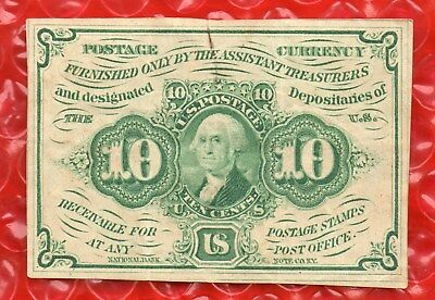 FR 1242  10 CENTS - FIRST ISSUE POSTAGE FRACTIONAL CURRENCY - with ABCO MONOGRAM
