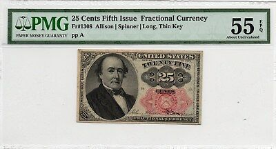 Fr 1308 - 25 Cents - Fifth Issue Fractional Currency - Pmg 55Epq - Long Thin Key