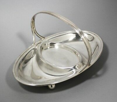 1920s silver plated oval 3-section starters serving dish platter swing handle