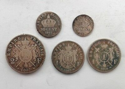 France  2 Francs 1867 Silver Coin Plus Other 1800's Coins from France  #CAP