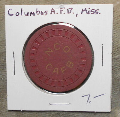 Military: CAFB NCO $5.00 Columbus AFB MS Poker Chip Style Cunningham-Not Listed