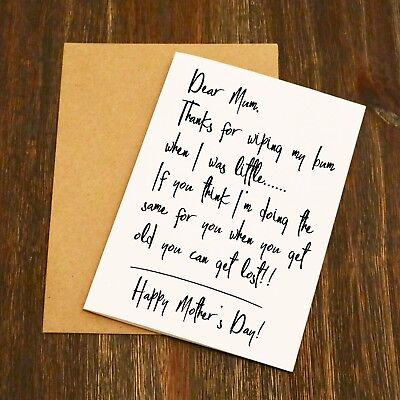 Dear Mum Thanks For Wiping My Bum | Funny Cheeky Rude | Mother's Day Card