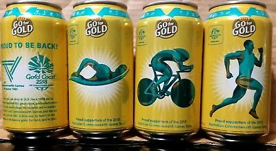 New XXXX GOLD BEER CANS SET OF 4 COMMONWEALTH GAMES 2018 GOLD COAST QLD