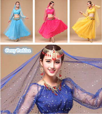 Adults Belly Dancing Bollywood Chiffon Sparkling Sequins Costume Set Jewelry