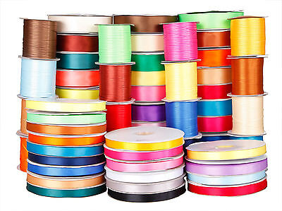 New Double Sided Quality 5m Lengths Satin Ribbon 10mm 25mm 50mm all colours