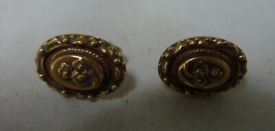 Victorian Style 9ct Yellow Gold STud Earrings Birmingham 1984 2.3g A653017