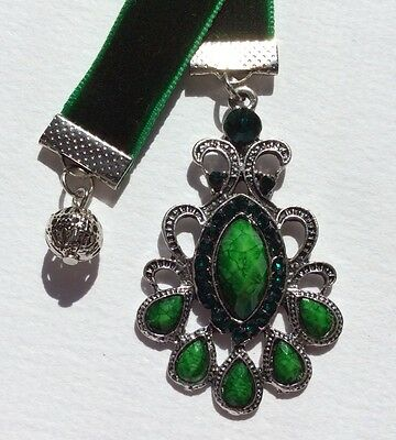 Beautiful Green Velvet Ribbon Bookmark, Handmade in Australia