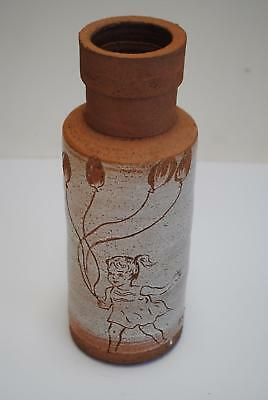 Collectable David Bromley Earthernware Vase '1950's Girl with Balloons' Signed