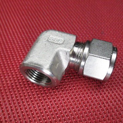 "SSP Grip® 1/2""Tube OD x 3/8"" NPT Pipe FEMALE ELBOW CONNECTOR 316 Stainless Steel"
