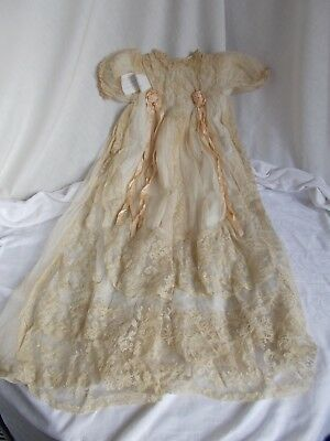 Vintage Embroidered Lace Christening Gown