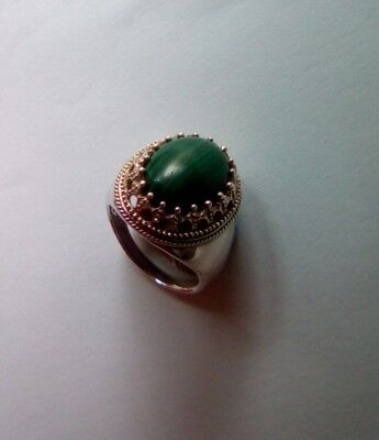 Metal Detect Find -  Silver Ring With Green Stone