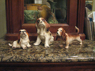 VTG BASSET HOUND, WELSH SPRINGER SPANIEL DOG FIGURINES, Japan