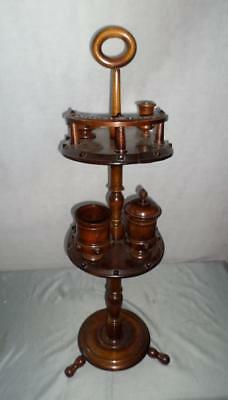 Antique Wooden Equestrian Horse Shoe Revolving Tiered Smokers Stand/ Table