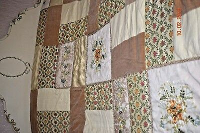OLD  HAND MADE PATCHWORK QUILT SUPERB c1950 FRENCH
