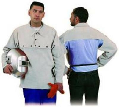 "STEEL GRIP LEATHER WELDING CAPE SLEEVES W/19"" BIB SIZE CL 490-19 C = Size LARGE"