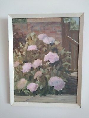Beautiful Vintage 1950s/60s Hand Painted Framed Signed Flower Picture