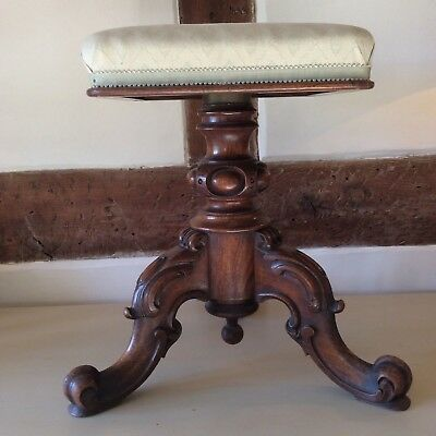 Original Antique Walnut Carved Piano Stool in Walnut