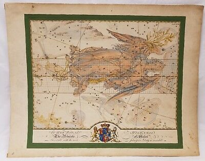 Antique English Hand Colored Celestial Atlas Map To Her Royal Highness of Wales