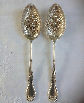 Pair Vintage Silver Plated Ornate Berry Serving Spoons