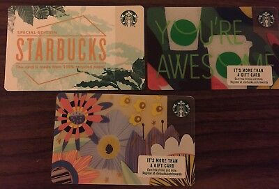 3- New Starbucks 2018 Gift Cards Lot Recycled Paper,spring &you're Awesome