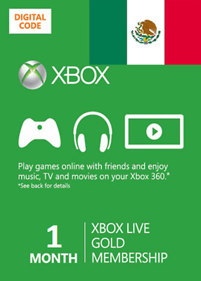 1 month Xbox One 360 Live Gold Membership Digital Codes (Mexico VPN Required)