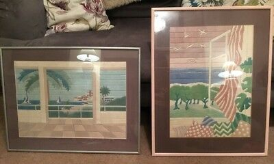 Pair Of Vintage 80s Large Emboidered Wool Tapestry Pictures Framed