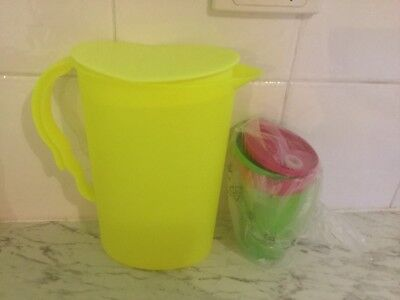 Tupperware Expressions 2 Litre Pitcher Neon Plus 2 Neon Tumblers