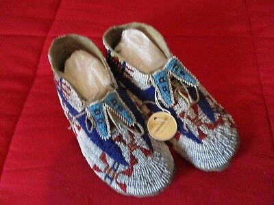 Antique Lakota Sioux Beaded Moccasins