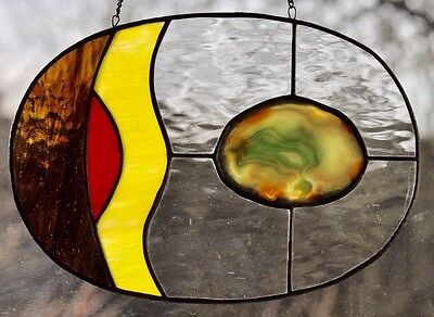 """Where To Begin?"" Large Geode Stained Glass Panel Suncatcher Real Agate"