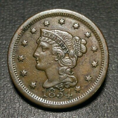 1854 1C Braided Hair Large Cent XF