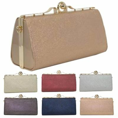 New Hard Compact Glitter Faux Patent Leather Ladies Bridal Prom Clutch Bag