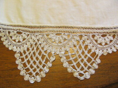 Antique white linen runner with elaborate hand crocheted lace