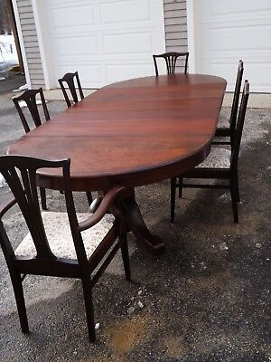 """Antique Solid Mahogany 54"""" Round Dining Table with 5 Leaves & 6 Dining Chairs"""