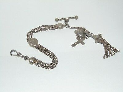 BEAUTIFUL ANTIQUE c1900 SILVER ALBERTINA POCKET WATCH CHAIN & HEART & TASSEL FOB