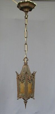Rare Antique 6 Panel Bronze Gothic Spanish Revival Stained Glass Hallway Light