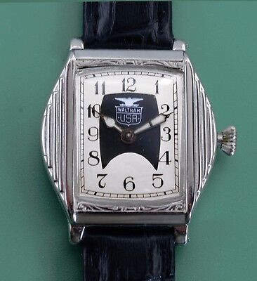 Vintage 1931 WALTHAM  USA Double Dial Art Deco Antique Men's Wrist Watch