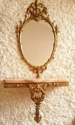 Beautiful Vintage Ornate Dresser With Mirror In Bronze And Marble